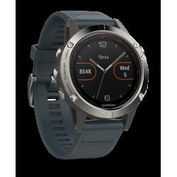 Спортивные часы FENIX 5 серебристые с синим ремешком